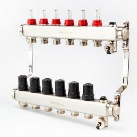 Коллектор для теплого пола с расходомерами BRASSMEN на 6 выходов