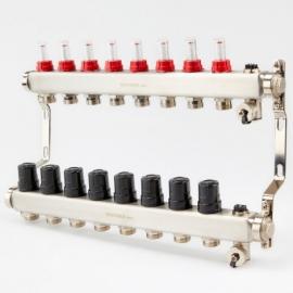 Коллектор для теплого пола с расходомерами BRASSMEN на 8 выходов