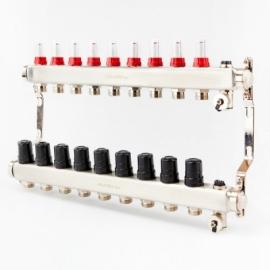 Коллектор для теплого пола с расходомерами BRASSMEN на 9 выходов