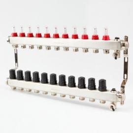 Коллектор для теплого пола с расходомерами BRASSMEN на 11 выходов