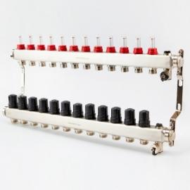Коллектор для теплого пола с расходомерами BRASSMEN на 12 выходов
