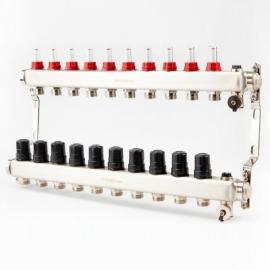Коллектор для теплого пола с расходомерами BRASSMEN на 10 выходов